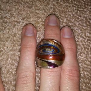 Swirled glass dome ring